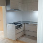 もともとあったキッチンはサイズが小さかったためスペースを広げ使いやすく大きくしました。シックな色のキッチンは空間にマッチしています。